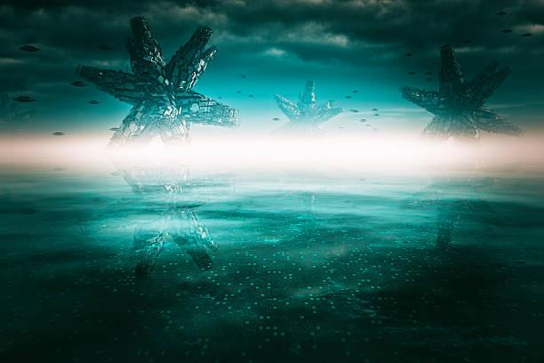Alien landscape on distant planet stock photo