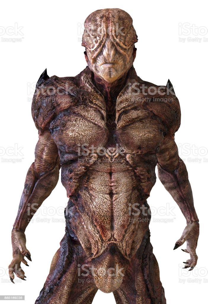 Monstro alienígena isolado na ilustração 3d fundo branco - foto de acervo