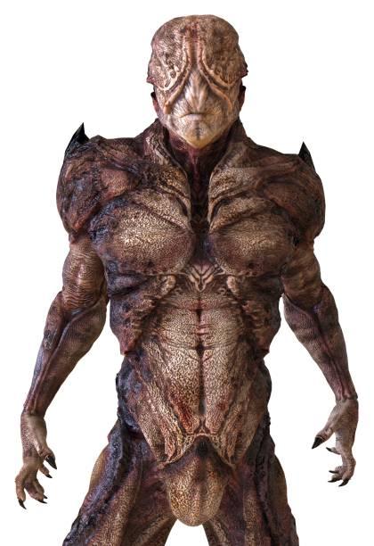 monstruo alienígena aislado en 3d ilustración de fondo blanco - monstruo fotografías e imágenes de stock