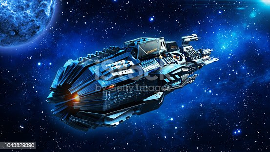 Alien mothership, spaceship in deep space, UFO spacecraft flying in the Universe with planet and stars, rear view, 3D rendering