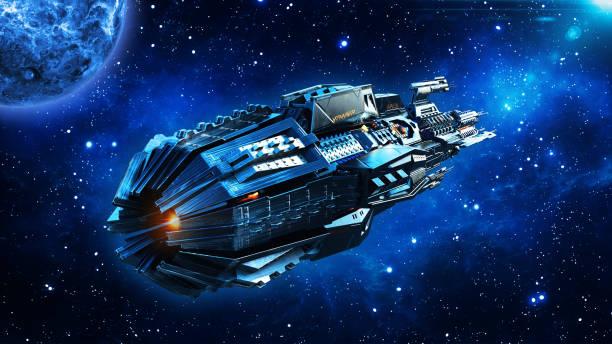buitenaardse moederschip, ruimteschip in deep space, ufo ruimtevaartuig vliegen in het universum met planeet en sterren, achteraanzicht, 3d render - ruimtevaart voertuig stockfoto's en -beelden