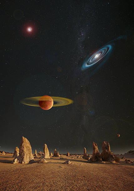 Alien Planet And Celestial Bodies stock photo