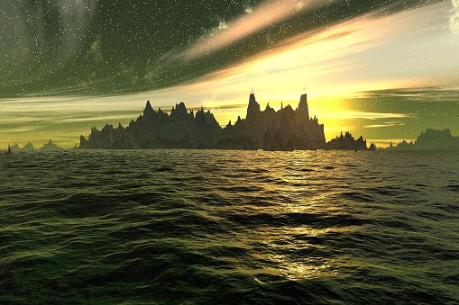 Landscape of stranger planet. Lake, rocks and moon.