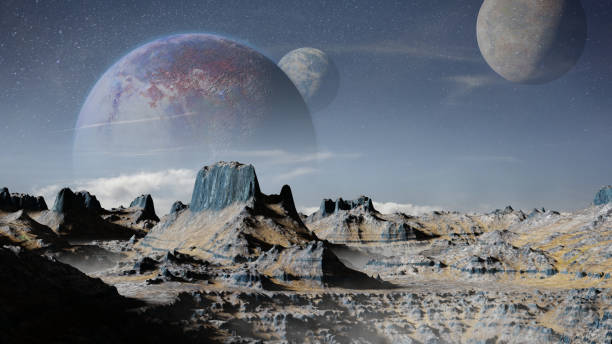 alien planet  landscape with three moons stock photo