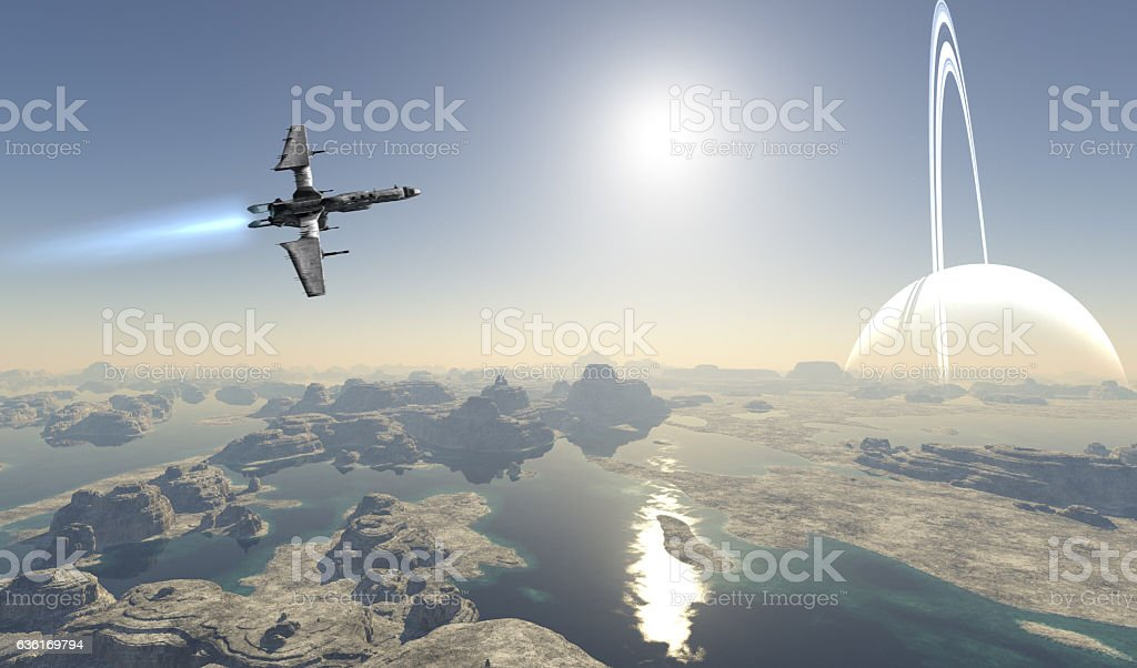 Alien Planet Starship stock photo