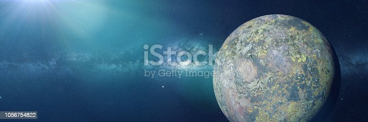 istock alien planet system, beautiful exoplanet in outer space (3d illustration, science fiction background banner) 1056754822