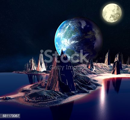 istock Alien Planet With Earth, Moon And Mountains . 531173057