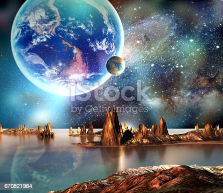 istock Alien Planet With Earth Moon And Mountains 670821964