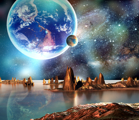 Alien planet with mountains, sea and planets on background. 3D Rendered Computer Artwork. Elements of this image furnished by NASA