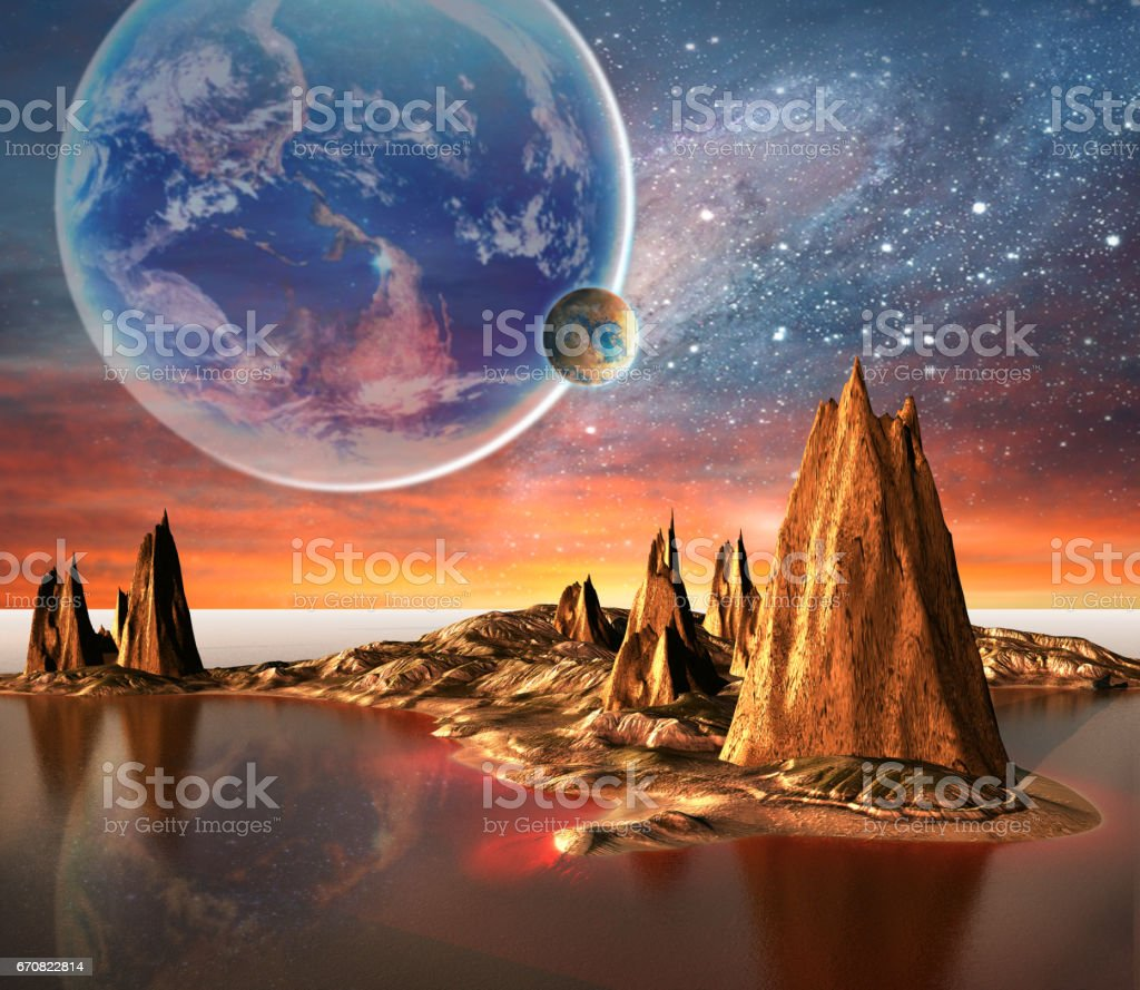 Alien Planet With Earth Moon And Mountains stock photo