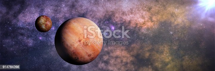 istock alien planet with moon lit by an alien star, habitable exoplanet 914784266