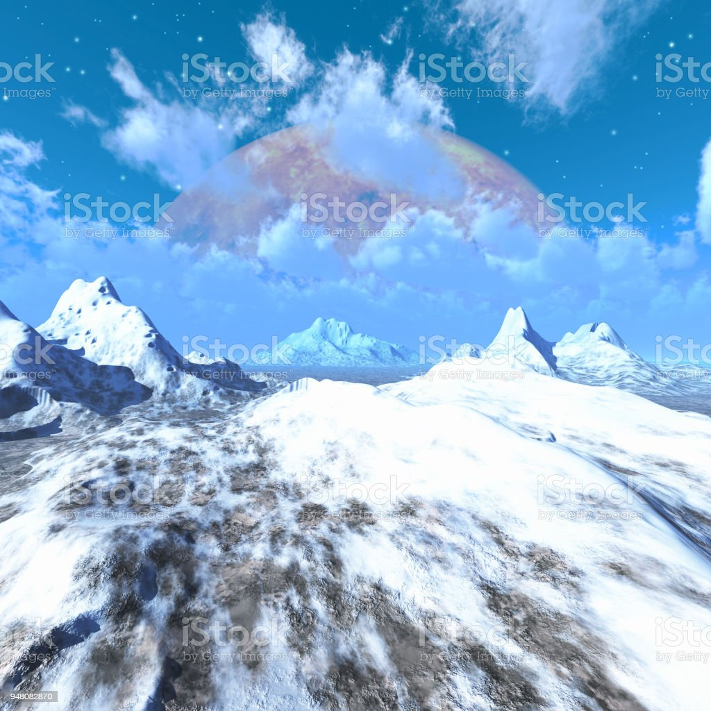 Alien planet with mountains, ice and snow, 3d illustration stock photo