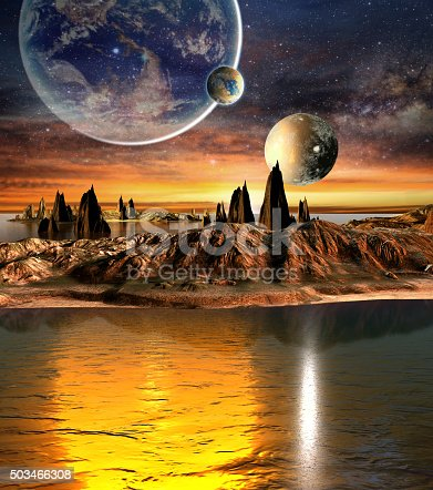 istock Alien planet with mountains, sea and planets on background 503466308