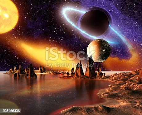 istock Alien planet with mountains, sea and planets on background 503466336
