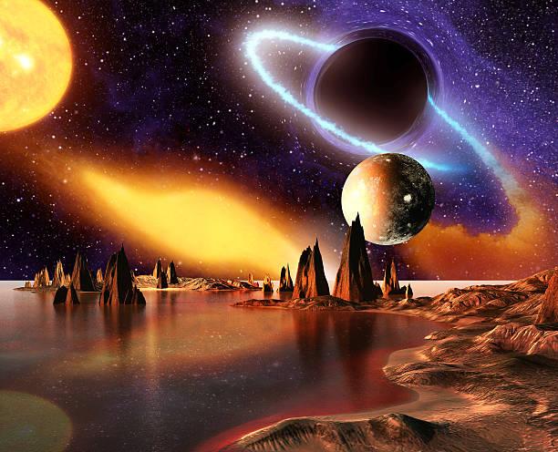 Fremden Planeten mit Berge und Meer auf Hintergrund und Planeten – Foto