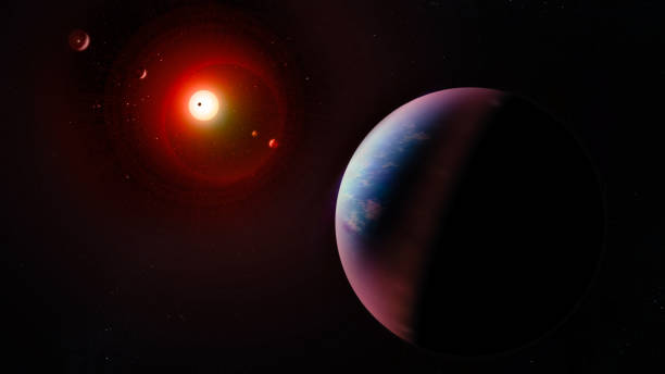 Alien planetary system. Collage. Elements of this image furnished by NASA. stock photo