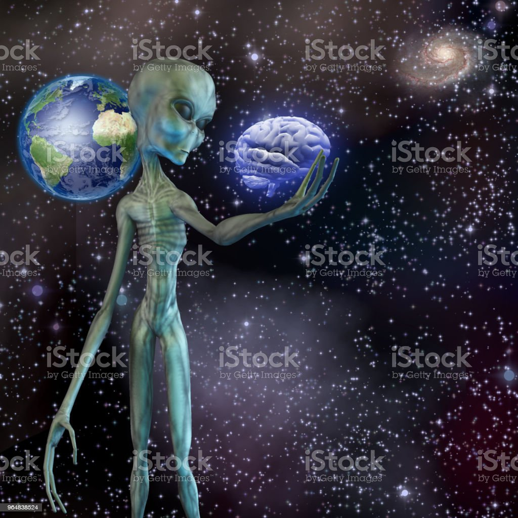 Alien ponders human brain royalty-free stock photo