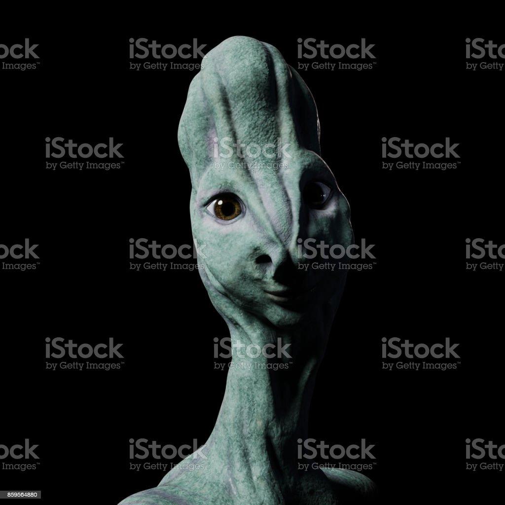 alien portrait (3d illustration isolated on black background) stock photo