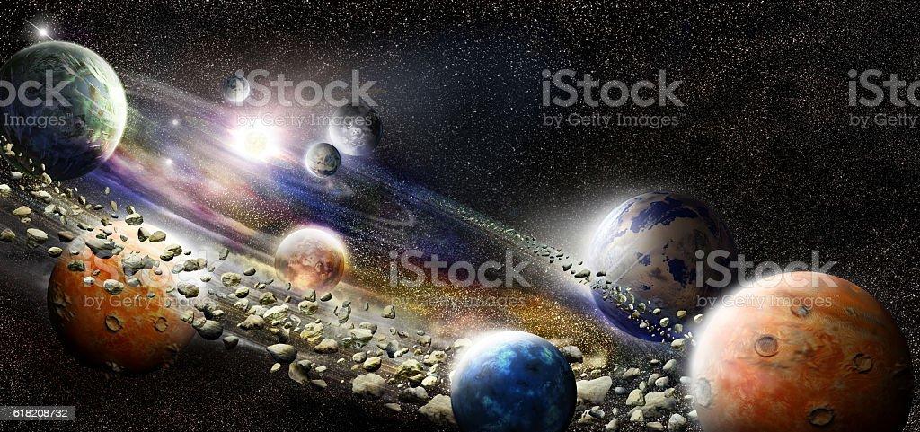 Alien solar sysytem stock photo