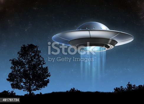 istock Alien spaceship 3d illustration 491761734