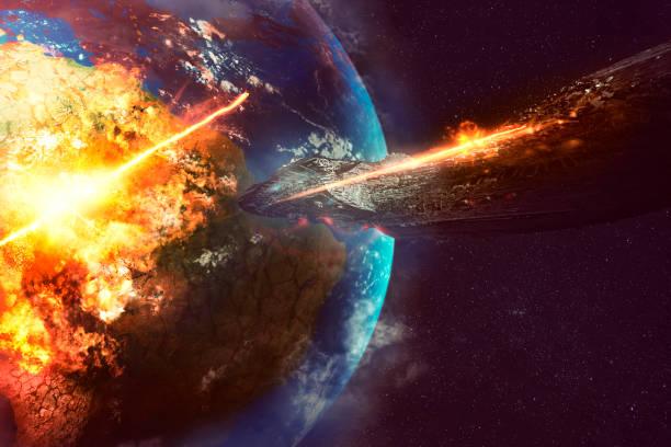 alien raumschiff zerstörung der erde - große waffen stock-fotos und bilder
