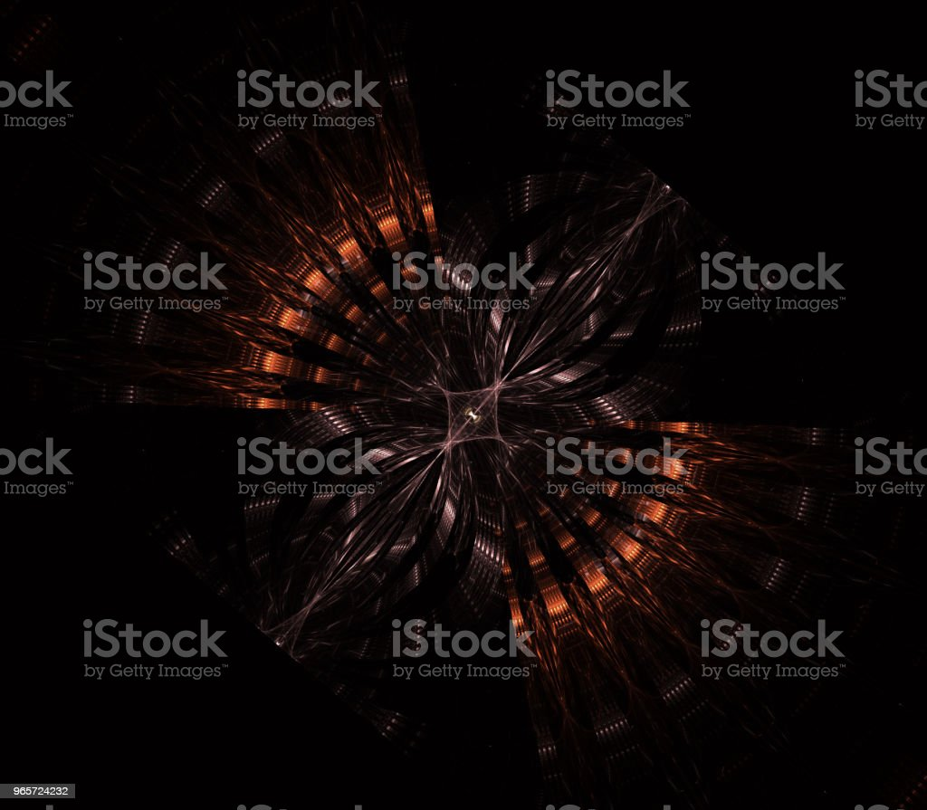 UFO, alien spaceship, flying saucer with steampunk look. Metropolis, science fiction, illustration, computer-generated, fractal art, - Royalty-free Air Vehicle Stock Photo