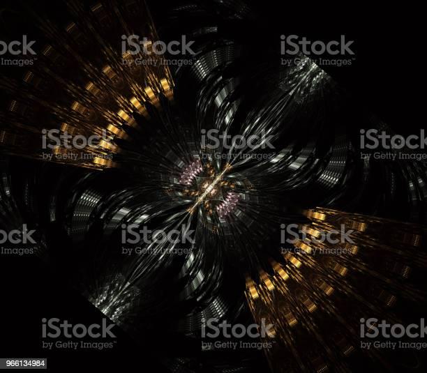 Ufo Främmande Rymdskepp Flygande Tefat Med Steampunk Utseende Metropolis Science Fiction Illustration Datorgenererade Fraktal Konst-foton och fler bilder på Arkivfilm