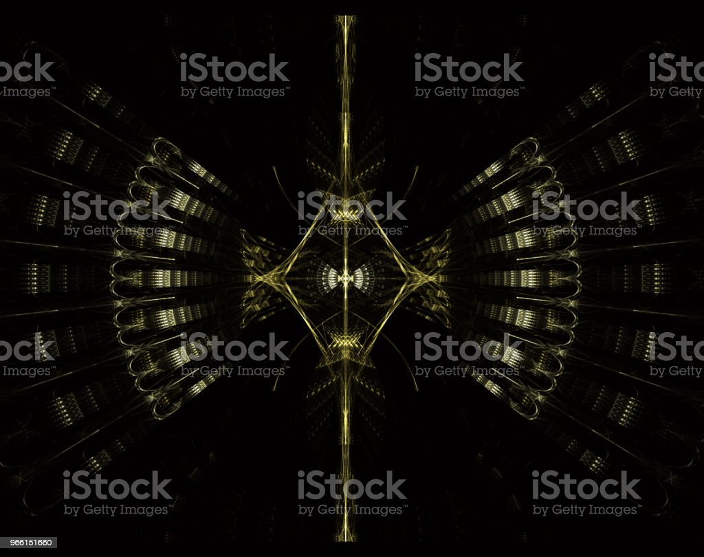 UFO, alien spaceship, flying saucer with steampunk look. Metropolis, science fiction, illustration, computer-generated, fractal art, - Royalty-free Alien Stock Photo