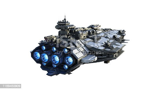 istock Alien spaceship flying, UFO spacecraft in flight isolated on white background, rear view, 3D render 1159450909