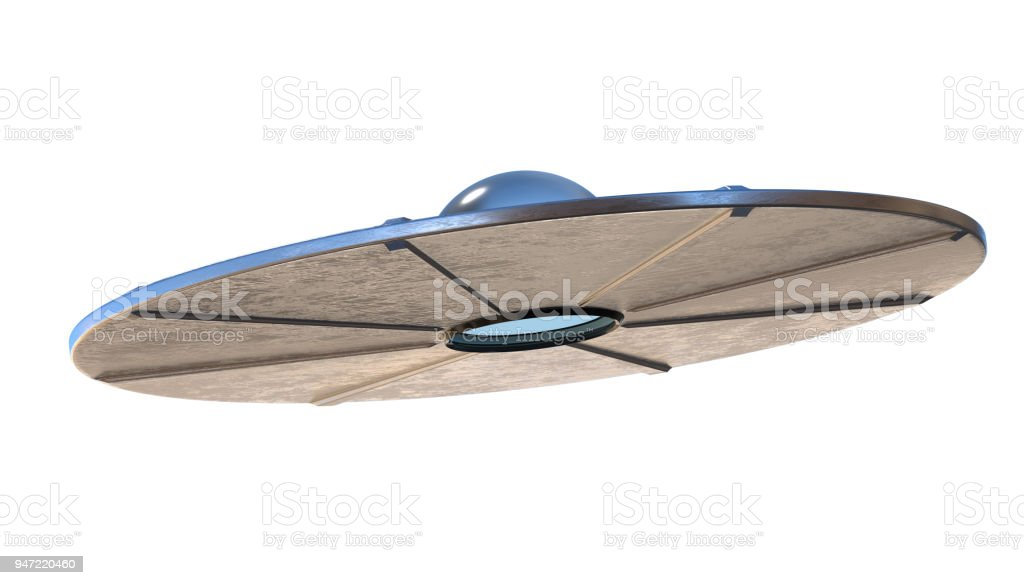 UFO - alien spaceship isolated on white background. 3D rendered illustration. stock photo