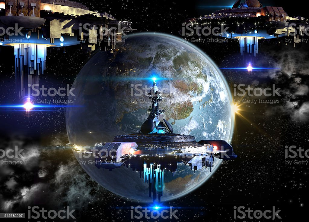 Alien spaceships invading Earth stock photo