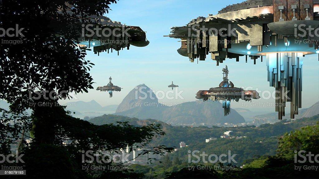Alien spaceships invading Rio De Janeiro stock photo