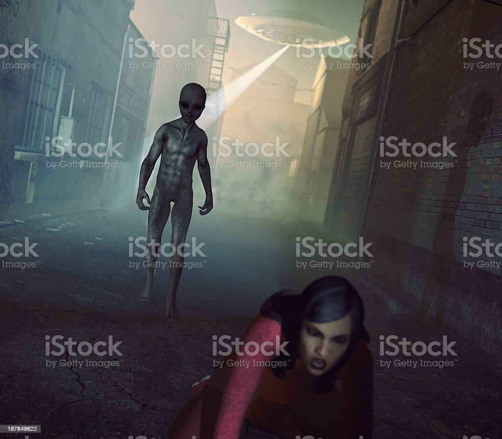 Alien UFO abduction in dark street stock photo
