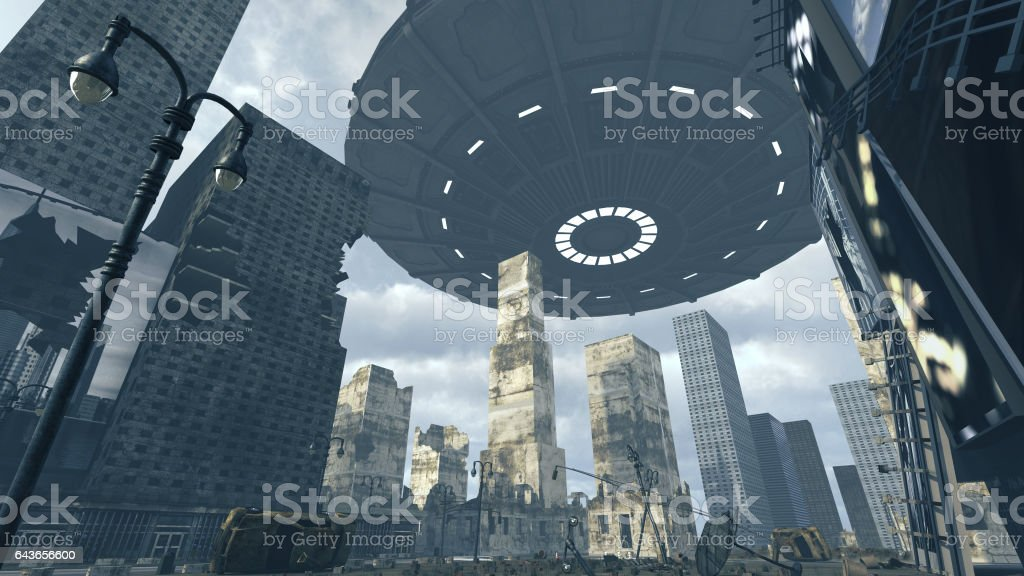 Alien UFO above Time Square New York Manhattan. 3D rendering stock photo