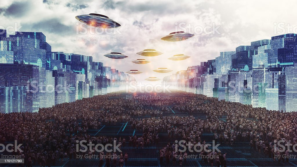 Alien UFO attack on the future city of Earth stock photo