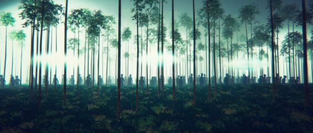 OVNI Invasão Alienígena na floresta à noite - foto de acervo