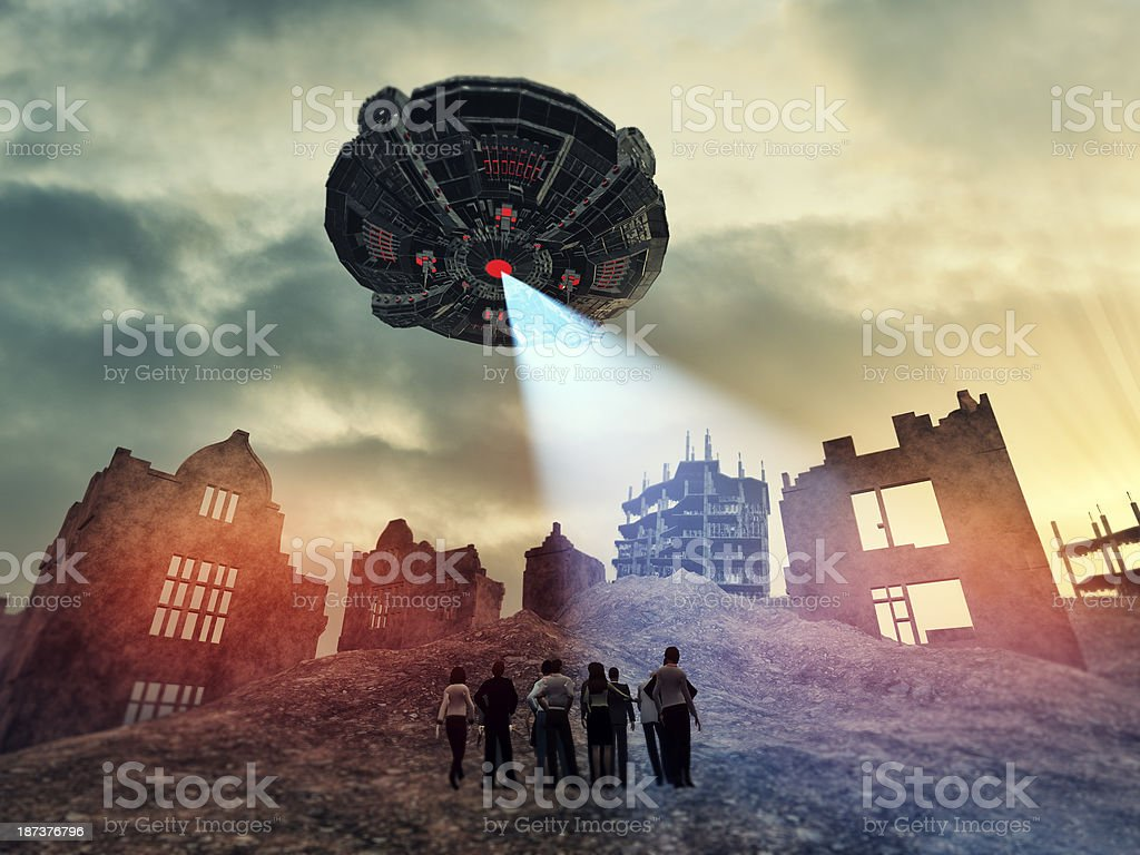 Alien UFO mother ship destroying Earth stock photo