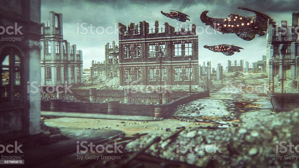 Alien UFOs flying over destroyed city stock photo