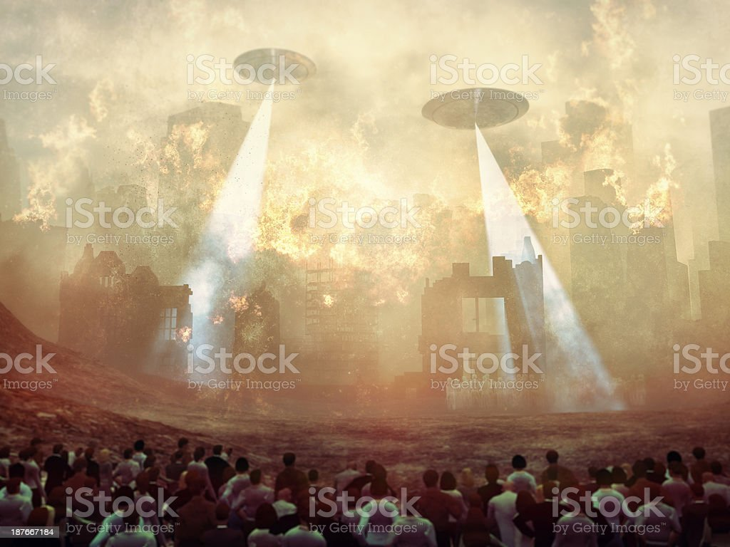 Alien UFOs invading and destroying Earth stock photo