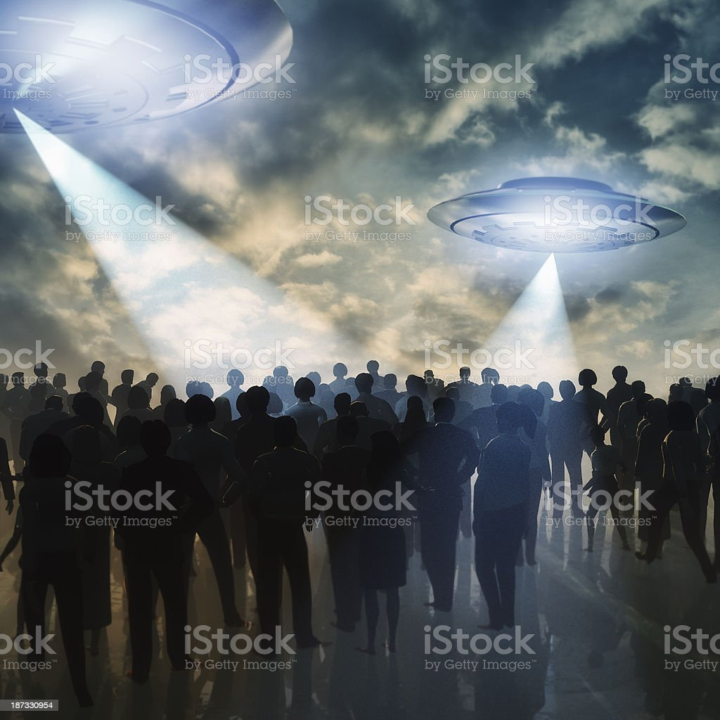 Alien UFOs invading Earth stock photo