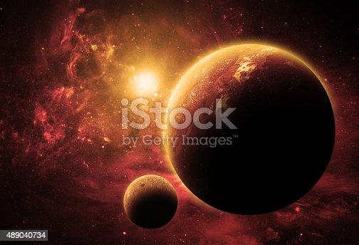 istock Alien World In Space 489040734
