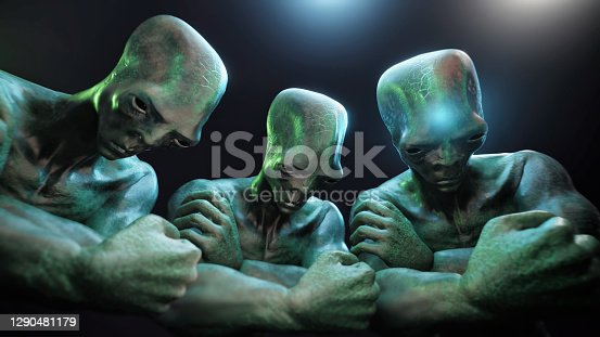Aliens sadness  Aliens company - 3d rendered image of alien. Sadness emotion. Lost in space. Horizontal background. Cinematic still image. UFO, Sci-Fi, Monster, character concept. Noir lighting style. Shallow DOF.