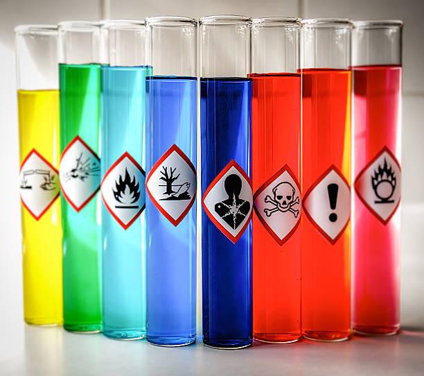 Abgestimmten chemischen Gefahr grafischen Symbolen-ernsthaften gesundheitlichen Gefahren – Foto