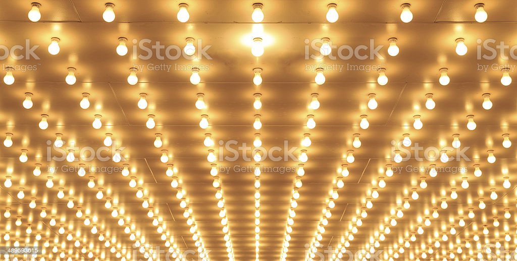 Aligned theater lights of Chicago Theater. Casino lights stock photo