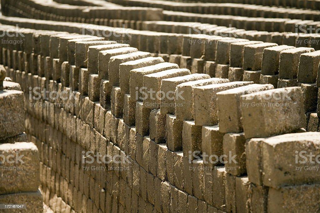 alignment captured in sun drying mud bricks royalty-free stock photo