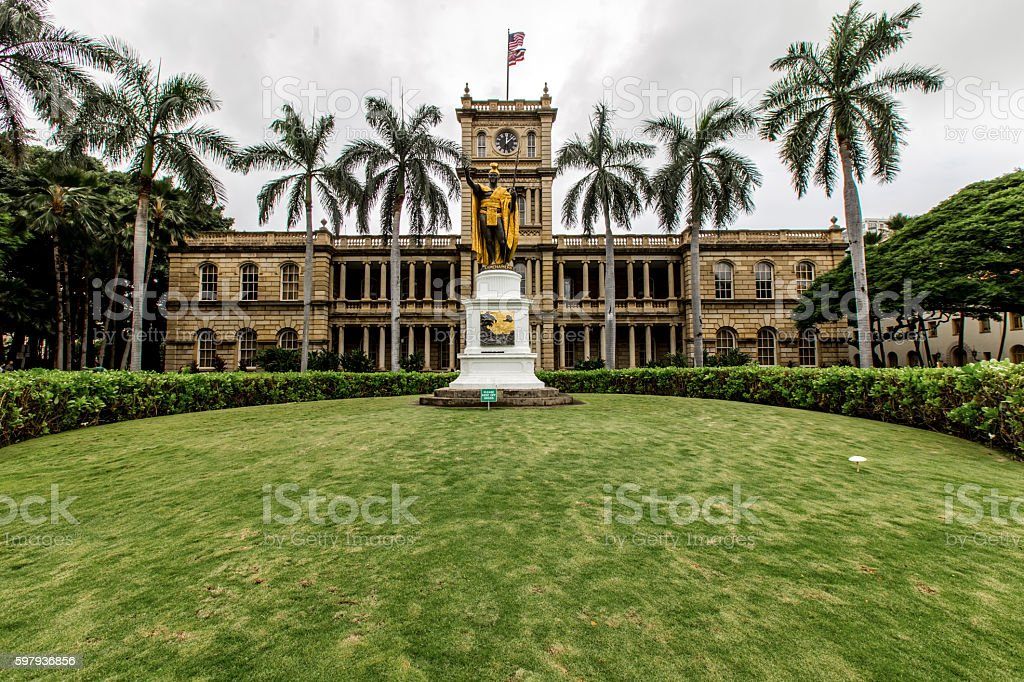 Aliʻiolani Hale building in Hawaii stock photo