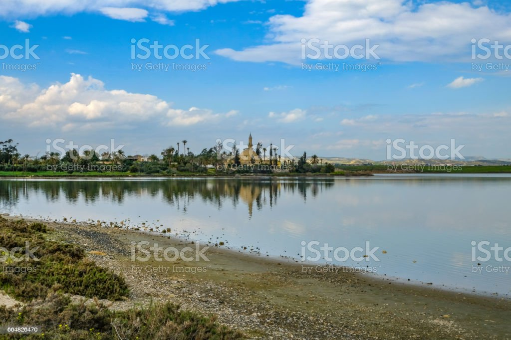 Aliki salt lake looking toward the Mosque stock photo