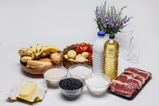 Banana; wimp; food; feed; provender; nourishment; sustenance; aliment; nutriment; diet; eating; fuel; pabulum; Cassava flour; bread; tomato; bean; oil; rice; coffee; Milk; butter