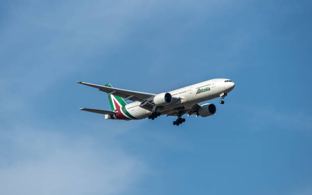 Alitalia aircraft taking off from Fiumicino Airport in Rome, Italy stock photo