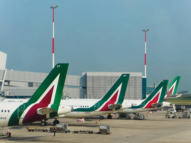 Alitalia Airline Airplanes parked at Leonardo da Vinci Airport stock photo